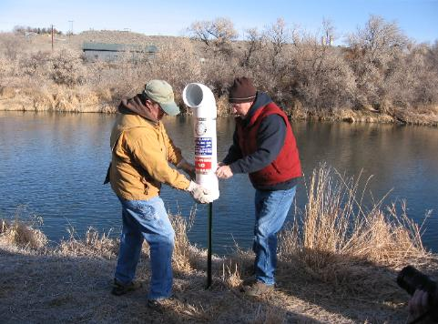 Monofilament recycling tube installed on Lower Shoshone River by Trout Unlimited, Cody, Wyoming.